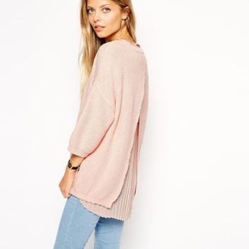 ASOS Rib Jumper With Pleated Back