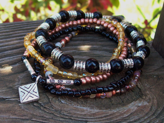 The Protector - Black Obsidian and Copper Stretch Bracelets - Beaded - Meditation Stacker