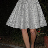 Womens Circle Skirt Glitter Silver Leaf Print Gray Full Circle Knee Length Skirt
