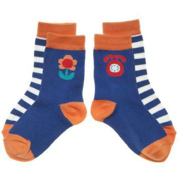 POLARN O. PYRET 2-PACK PETALS & STRIPE SOCKS (BABY)