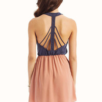 Dusty Peach Fanned Back Dress