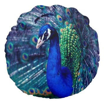 Blue Peacock Round Pillow