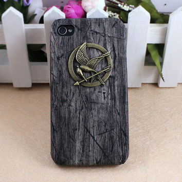 The Hunger Games Logo Mockingjay pendant black gray iPhone 4/4S case, Apple iPhone 4 Case, iPhone 4s Case, iPhone 4 Hard Case --- SALE