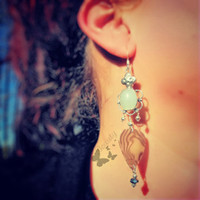 Earrings- Beautiful Chalcedony, Iridescent Mother of Pearl Style Guitar Pick, Sterling Silver Hooks -OOAK Jewelry