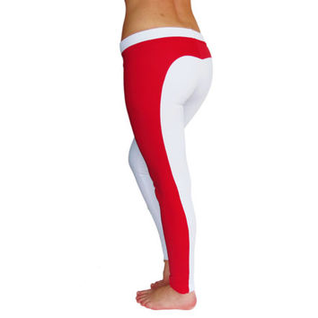 Red white yoga pants heart butt leggings yoga clothing
