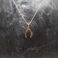 14K Rose Gold Wishbone Necklace - Gift for Wife, Girlfriend, Daughter, BFF