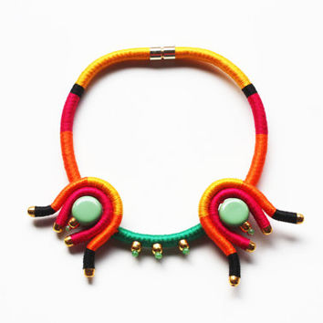COYOACAN - Statement Necklace - Rope Necklace - Exotic Necklace - Summer Necklace - Mexican - Yellow - Orange - Pink - Green