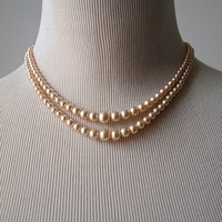 Rosita Double Strand Simulated Pearl Necklace With Diamante Clasp - 50s 60s Vintage Faux Pearl Necklace - Signed Costume Jewellery