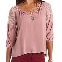 LACE YOKE NOTCHED V-NECK SWING TOP