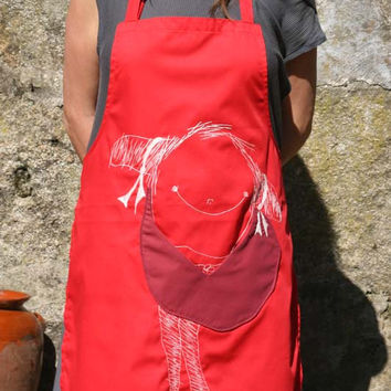 Cotton Apron KusKat with front pocket, red
