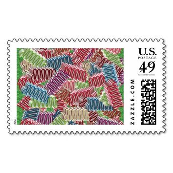 Christmas Ribbon Candies Postage Stamps