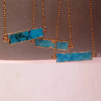 Turquoise Jewelry Howlite Bar Necklace - 24k Gold Electroplated Edging - Gold Filled Chain Optional - Custom Chain Length