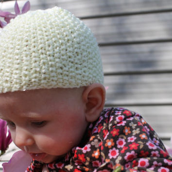 Knitted Baby Hat, Pastel Light Yellow, Seed stitch, Newborn, 0-6 months