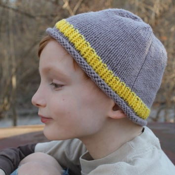 Yellow, Gray Hat, Knitted, Childrens, Striped, Grey, Boy, Girl, Ribbed, Stockinette, Handmade