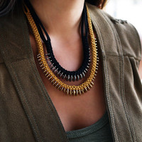 Washer tribal suede necklace