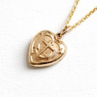 Vintage 12k Gold Filled Marine Anchor Heart Pendant Necklace - 1940s WWII Era Sweetheart Puffy Heart Double Sided Jewelry
