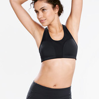 Women's Solid Med-High Impact Performance Sports Bra from Lands' End