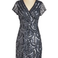 ModCloth Vintage Inspired Short Sleeves Sheath Cascading Cava Dress