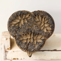 Carved Wooden Fabric Stamp Vintage