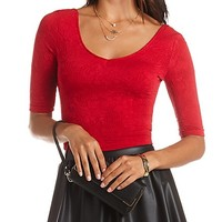 TEXTURED DOUBLE-V HALF SLEEVE CROP TOP