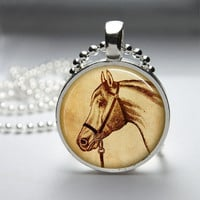 Round Glass Pendant Bezel Pendant Horse Pendant Black Horse Necklace Photo Pendant Art Pendant With Silver Ball Chain (A3879)
