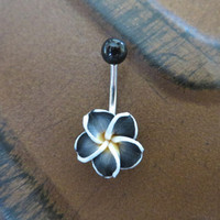 Black Hawaiian Flower Plumeria Belly Button Ring Hawaii Navel Stud Jewelry Bar Barbell Piercing Tropical Hibiscus
