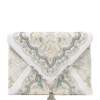 Elisa Embroidered Irish Lace Envelope Clutch by Marchesa at Gilt