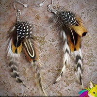 little animal // natural feather earrings