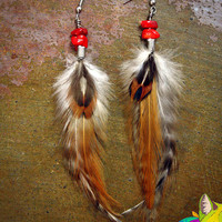 tucson // natural feather earrings with coral