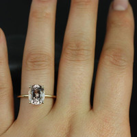 Dani 14kt Yellow Gold Thin Oval Morganite Classic Plain Engagement Ring (Other metals and stone options available)