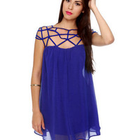 Pretty Cobalt Blue Dress - Cage Dress - Shift Dress -  $56.00