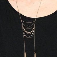 BEADED DOUBLE TASSLE NECKLACE