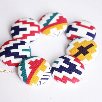 6 Large buttons Aztec Ethnic Geometric button 28MM