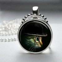 Round Glass Pendant Bezel Pendant Cat Pendant Steampunk Cat Necklace Photo Pendant Art Pendant With Silver Ball Chain (A3888)