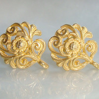 3 pairs - Best Seller, 24k Vermeil Filigree Floral Ear Post Earrings With Loop, Premium Ear Nuts Included, 12x10 mm
