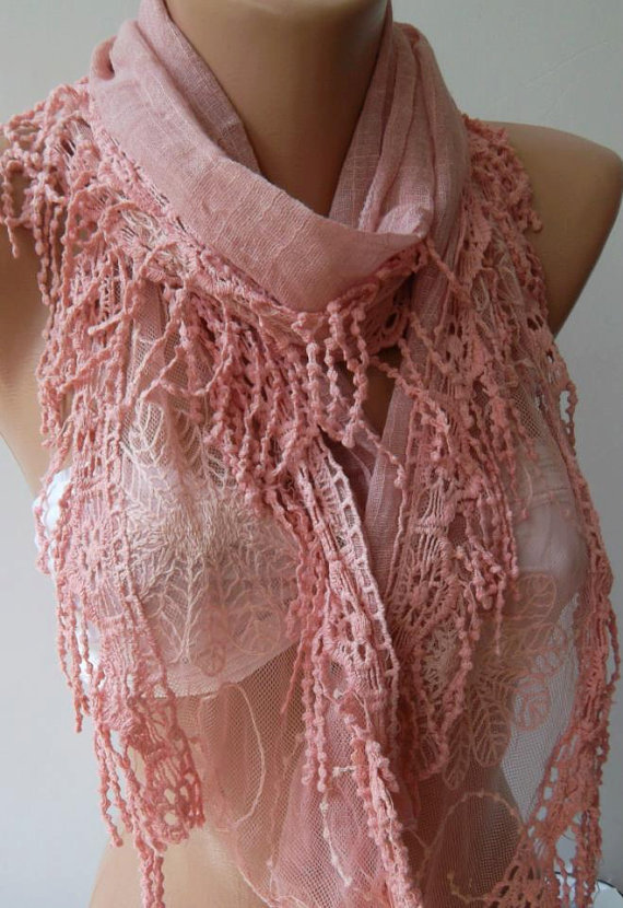 ON SALE/Pink  - Elegance Shawl --- Scarf with Lace Edge-----