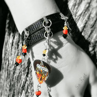 Wrap Bracelet- Rockin' Flames Guitar Pick, Music Notes Charm, Red Coral and Black Crystal Beads -OOAK Jewelry