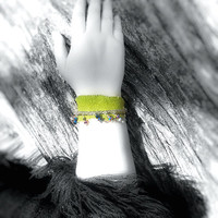 Bracelet- Up-Cycled Leather / Suede Green/ Chartreuse, Peacock Colors, Crystal Beads, Various Chains, OOAK Jewelry
