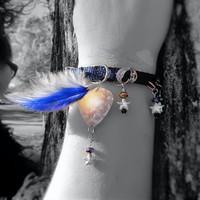 Bracelet- Sweet Dreams Celestial, Guitar Pick, Stars, Moons, Feathers -OOAK Jewelry