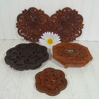 Vintage Set of 5 Carved Ornate Wooden Trivets - Retro Moroccan Style Instant Collection - Group of Hand Carved Detailed Trays Made in India