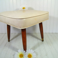 Mid Century Medallion Embossed Ivory Naugahyde Square Ottoman - Vintage Winter White Vinyl Babcock Phillips Style Foot Stool - Oak Pin Legs