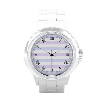 Pastel Lilac, Blue and White Stripes Rhinestone Watch