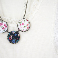 Flower fabric necklace, Pink White Black Necklace, Fiber Necklace, Button Cabochon,Romantic Necklace, Fabric bead necklace for woman