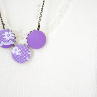 Purple Necklace, Fiber Necklace, Button Cabochon Necklace, Fabric Necklace, White lace Necklace Fabric bead necklace for woman
