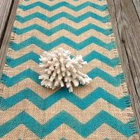 Burlap Chevron Table Runner Turquoise Natural Cotton Jute 12x72 Table Decoration by sweetjanesplan