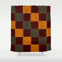 Retro 3D Squares Brown Goldenrod Sage Shower Curtain by 2sweet4words Designs