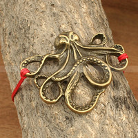 Antique bronze octopus bracelet- vintage style octopus bracelet