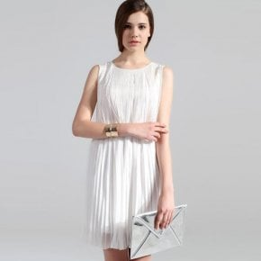 Pleated Chiffon White Dress TFDN05B - Designer Shoes|Bqueenshoes.com