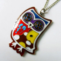 Fashion owl necklace chain necklace metal necklace women necklace girls necklace made of Colorful owl   XL-1363