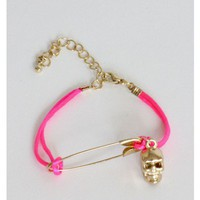 Safety Pin Skull Pink Bracelet